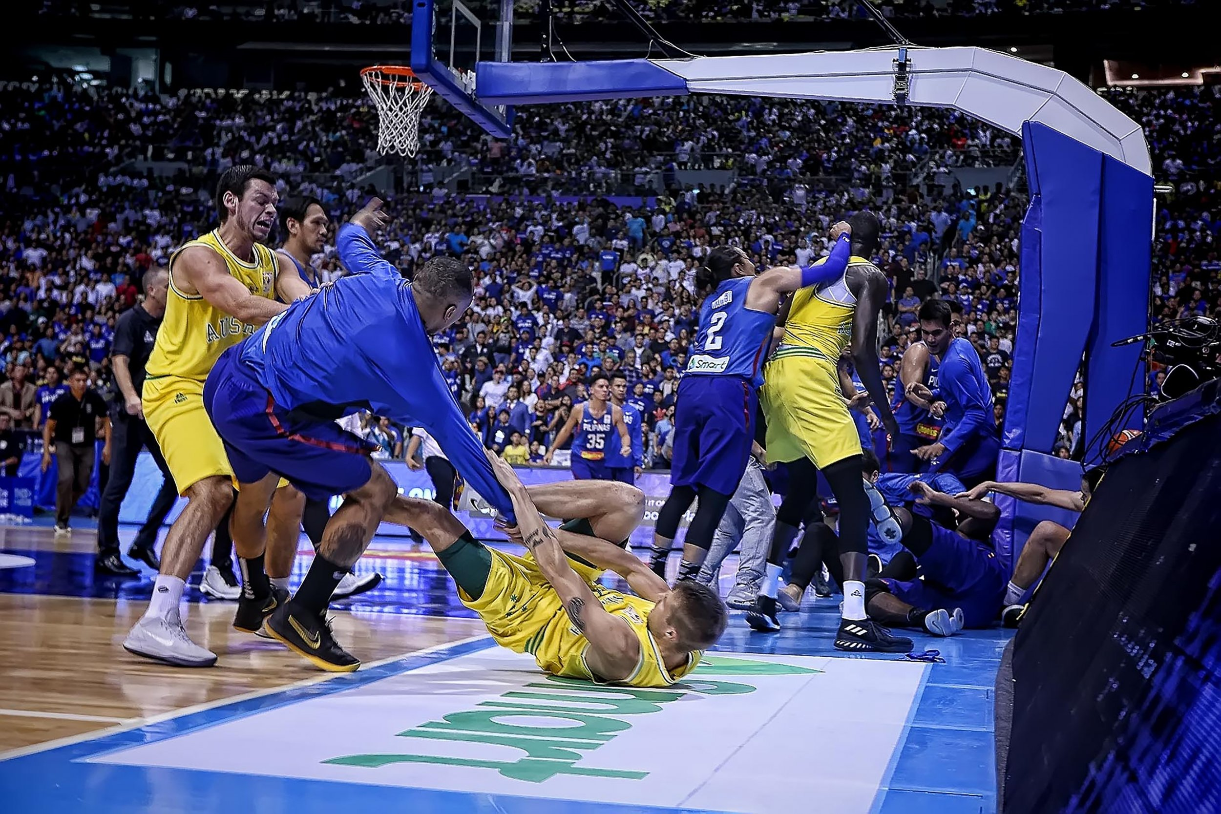 GettyImages-990235992 A general shot of the brawl between the Philippines  and Australian players during their FIBA World Cup Asian qualifier game ... b267c7870