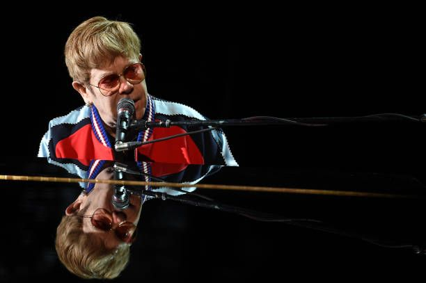 Elton John rehearsing for the 60th annual Grammy Awards