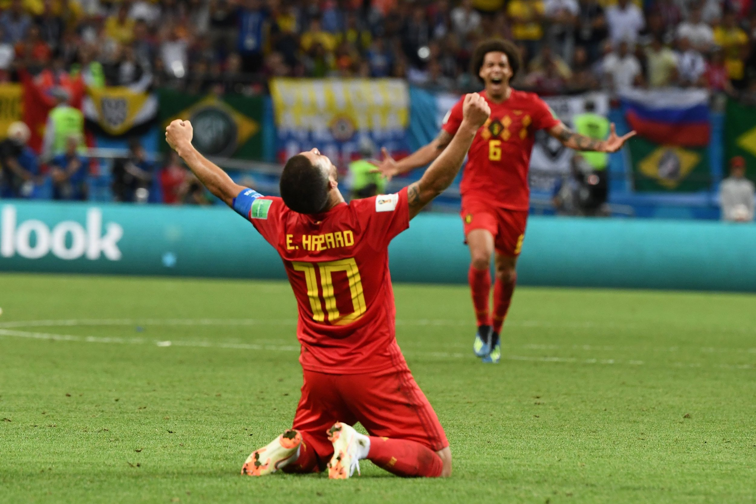 bf6444b3d01 Belgium s forward Eden Hazard celebrates his team s win during the Russia  2018 World Cup quarterfinal football match between Brazil and Belgium