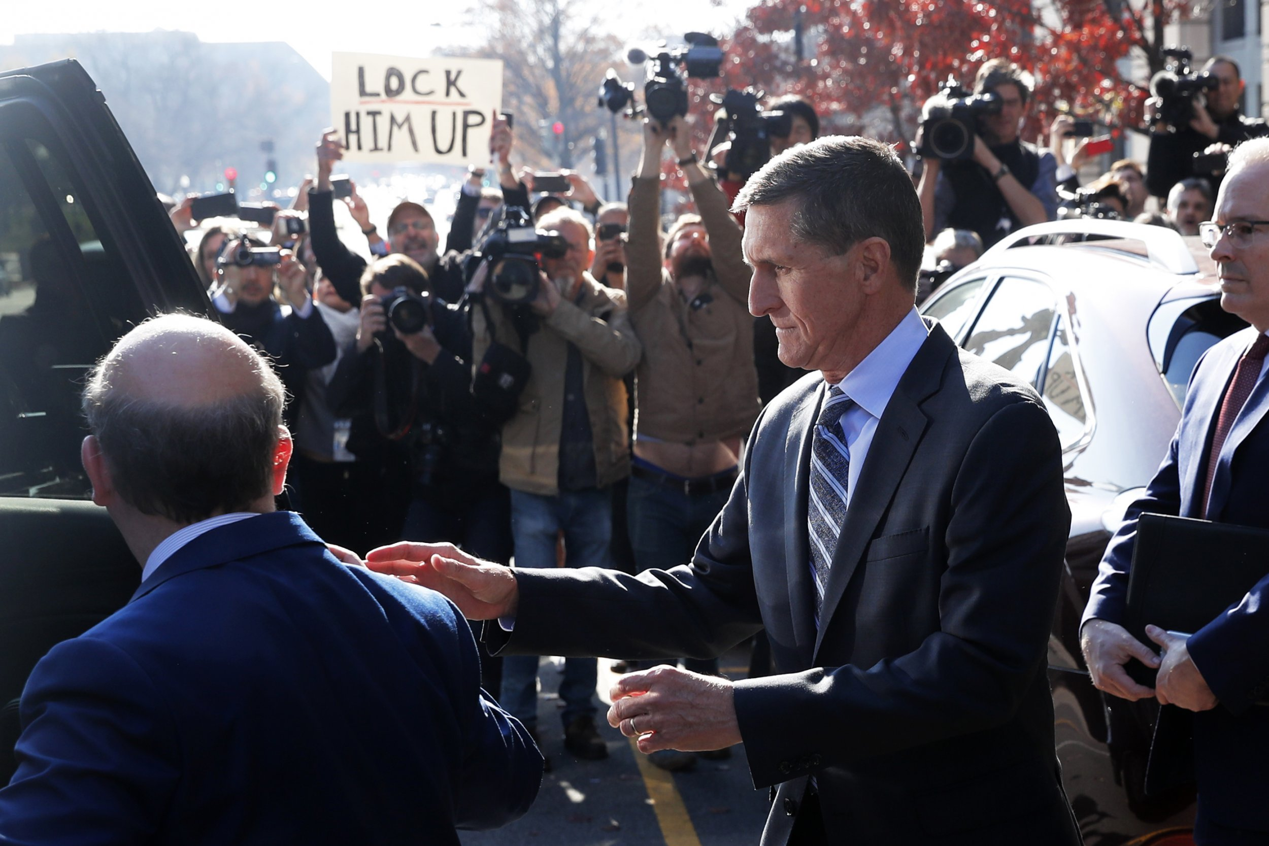 "Michael Flynn faced chants of ""Lock him up!"" two years after he used the phrase ""Lock her up!"" for Hillary Clinton."