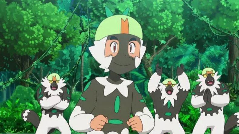 pokemon sun moon anime ash passimian blackface