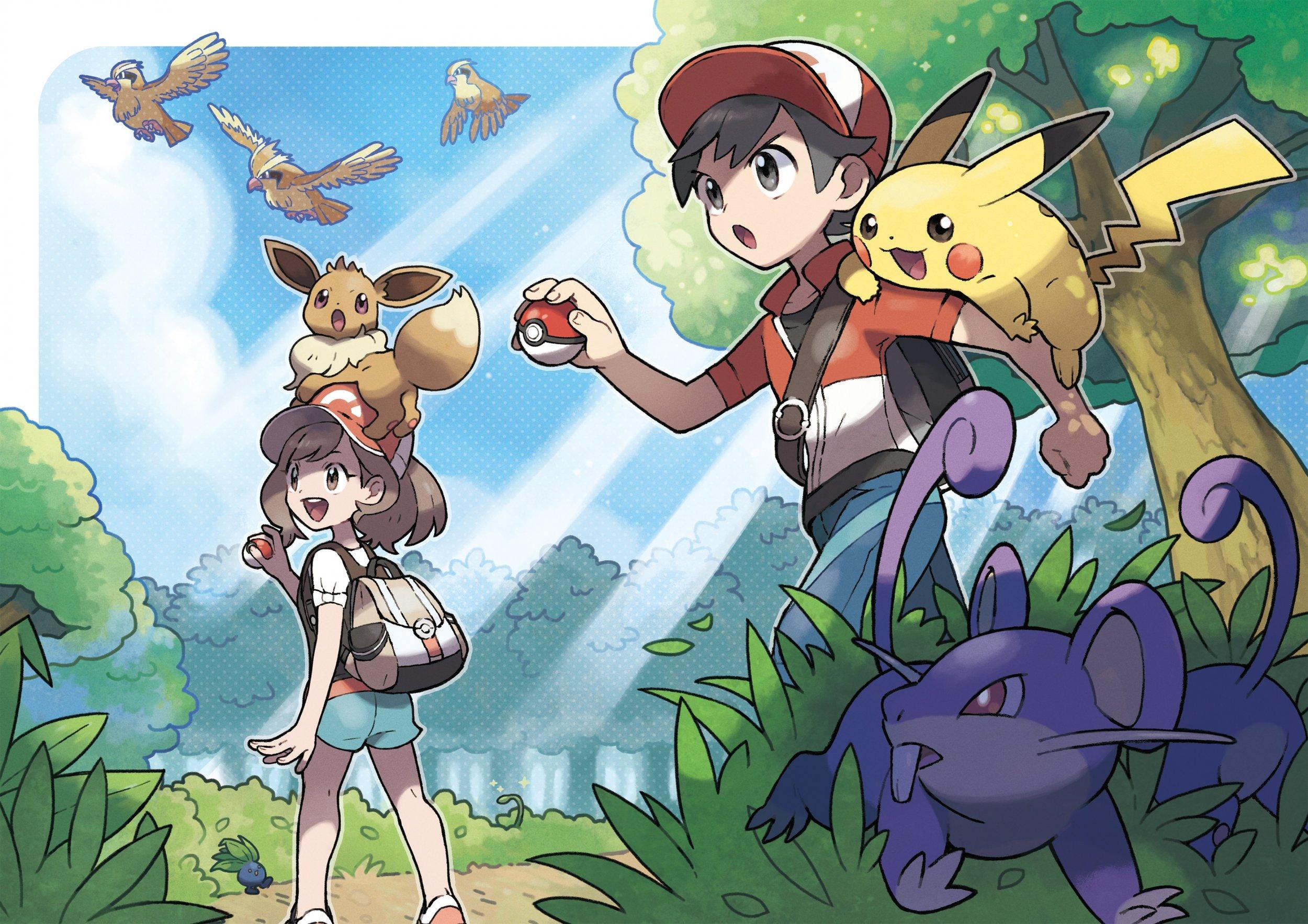 pokemon lets go pikachu eevee version exclusives key art