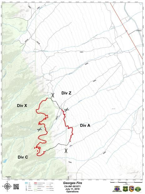 County Line 2 Fire Map.Georges Fire Inyo County Lightning Caused Wildfire In California
