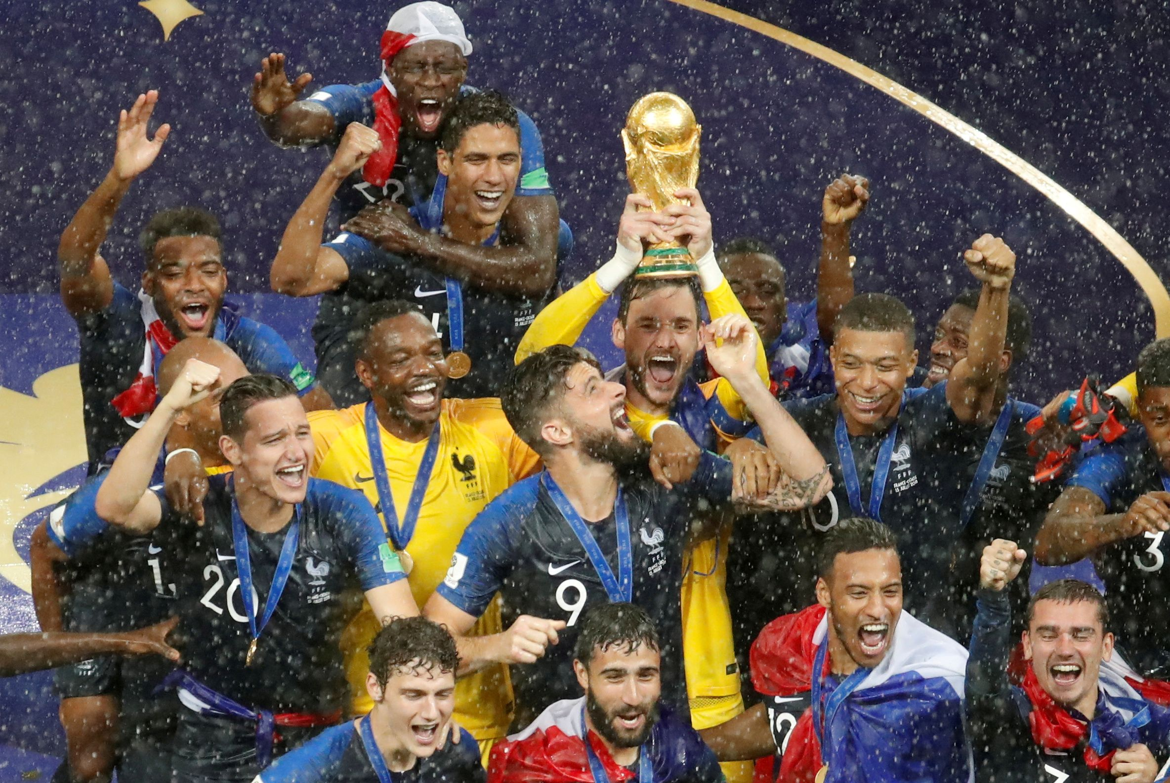 bb64b218b France s Hugo Lloris lifts the trophy as they celebrate winning the FIFA  World Cup after winning the final game against Croatia at Luzhniki Stadium  in ...