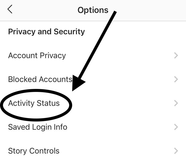 activity status in settings