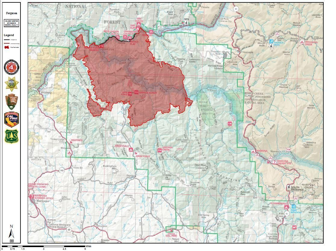 Ferguson Fire Update, Map: California Blaze Grows to 22,000 ...