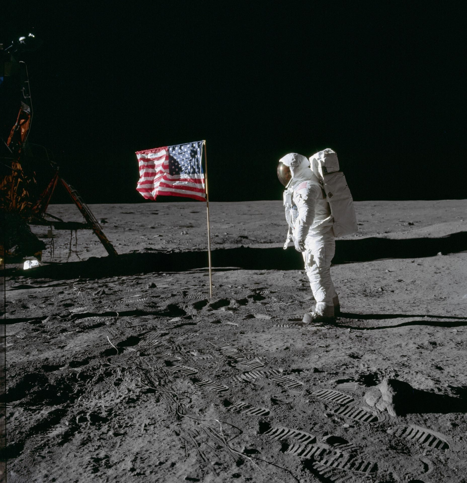 flag on moon