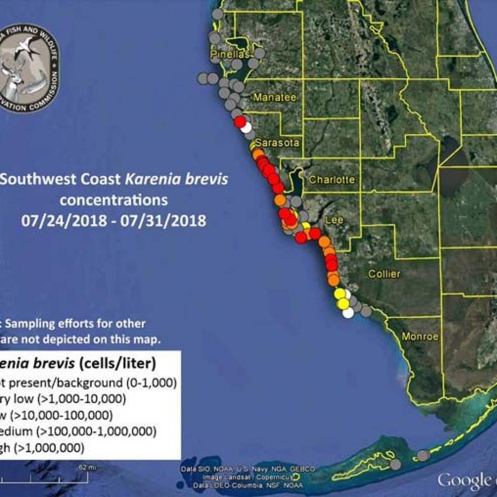 Us Florida Map.What Is Florida S Red Tide Cause Map Of Contaminated Waters