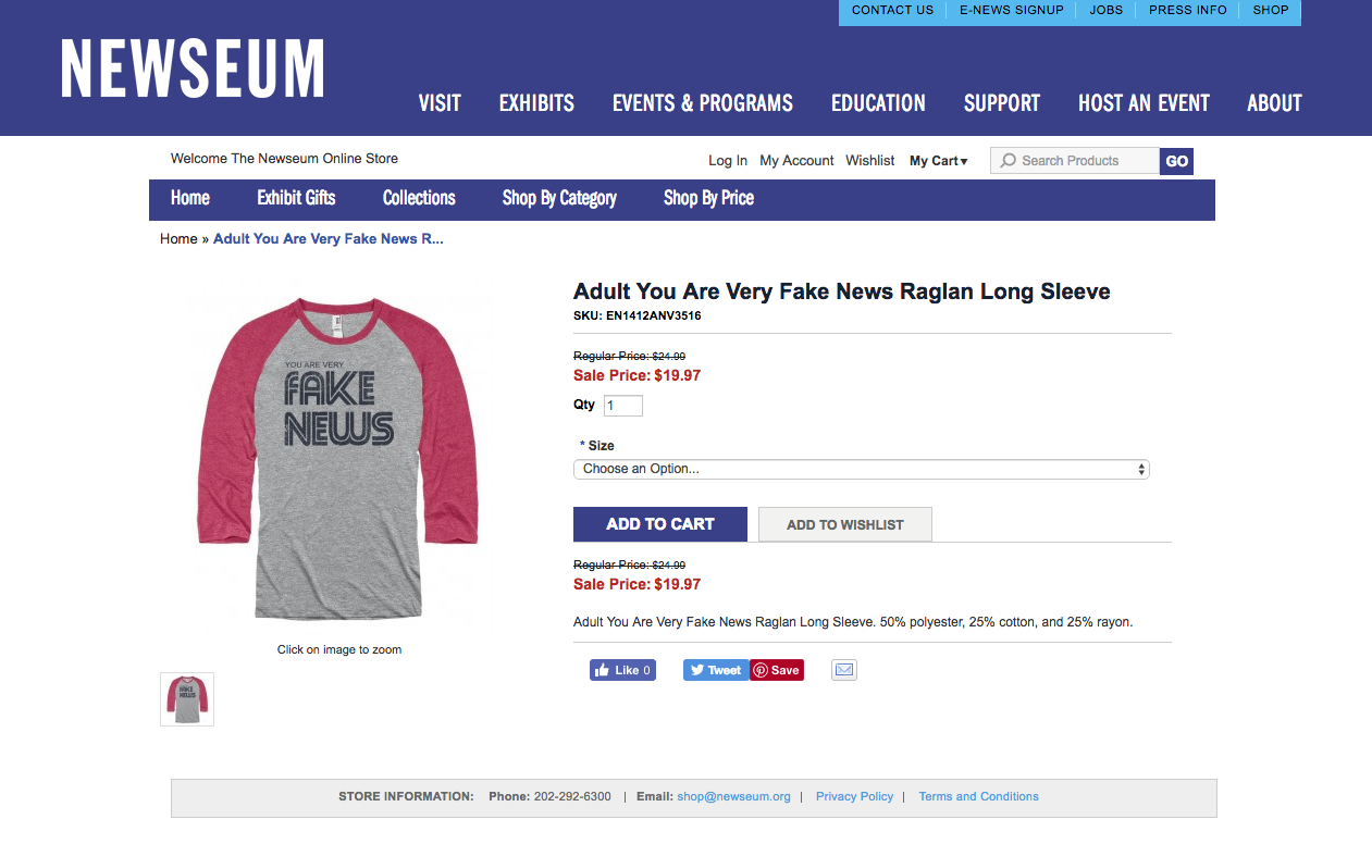 newseum removes fake news t shirts from gift shop and online store. Black Bedroom Furniture Sets. Home Design Ideas