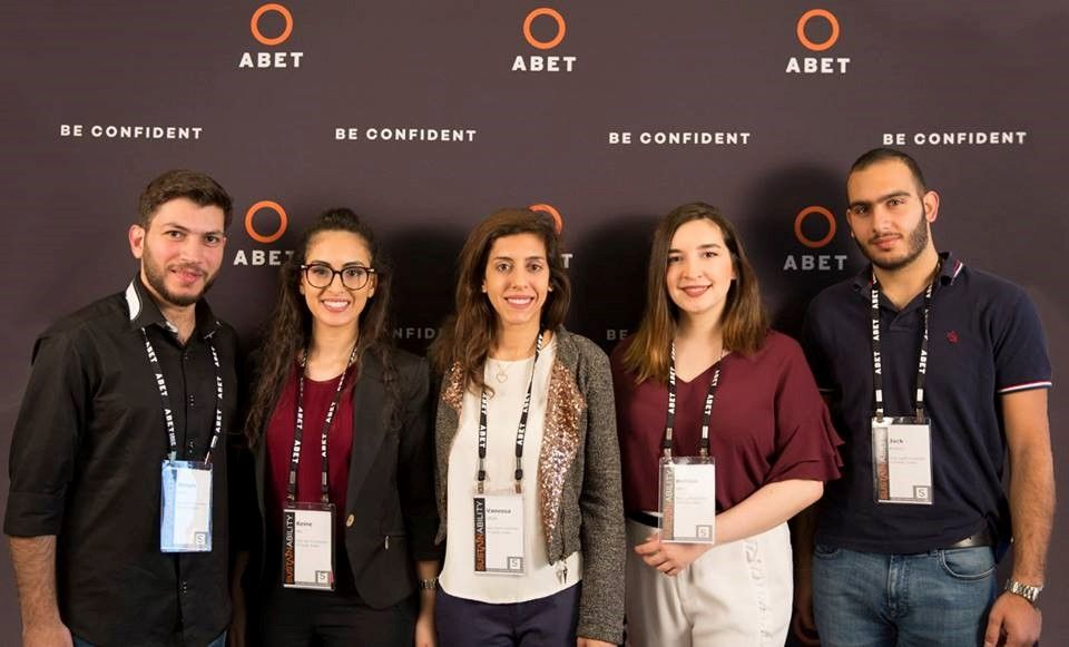 Engineering students from the Holy Spirit University of Kaslik (USEK) in Lebanon won the 2018 #ABETconfident Video Contest and traveled to the 2018 ABET Symposium to accept their award.