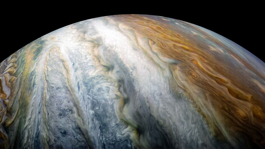 Colorful swirling cloud belts dominate Jupiter's southern hemisphere in this image captured by NASAs Juno spacecraft_NASA cropped