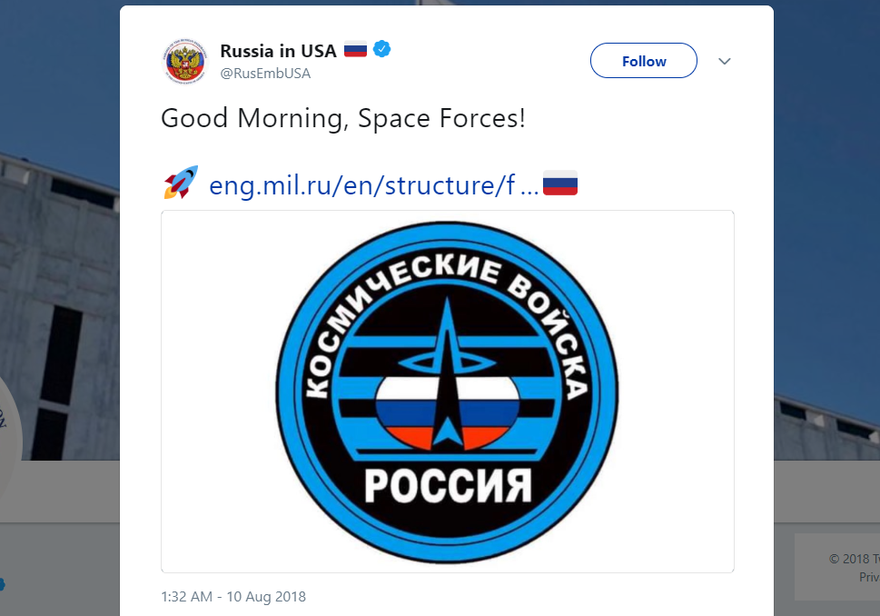 Russia Offers Logo Suggestion for Space Force