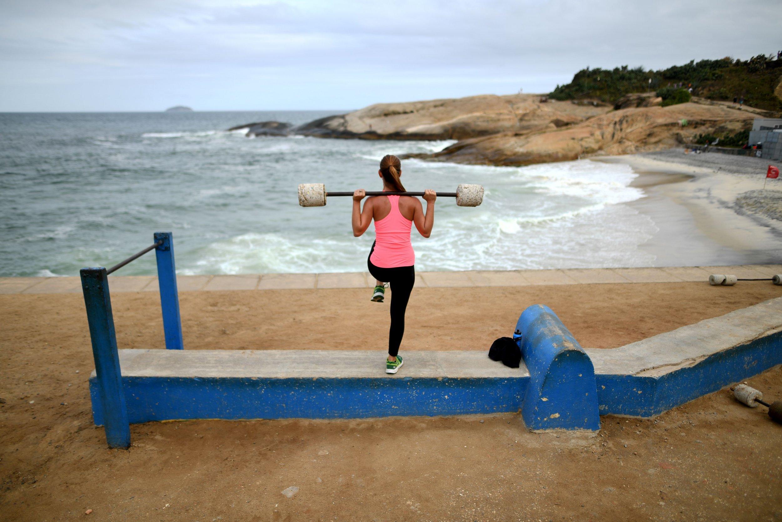 Woman Weights Beach