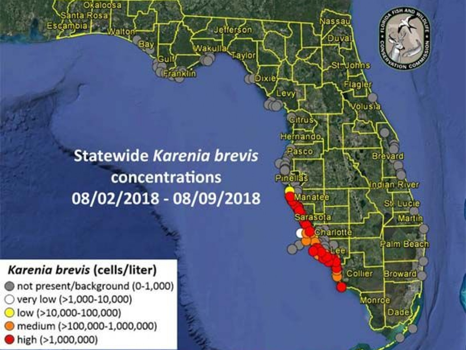 Red Algae Florida Map Florida Red Tide 2018 Map, Update: When Will Red Tide End?