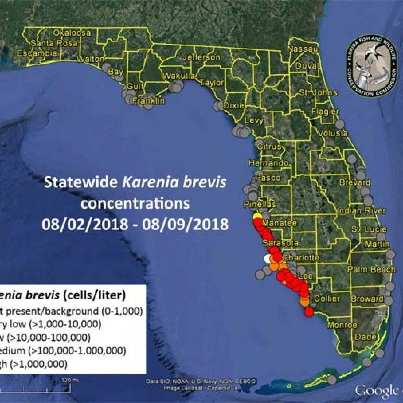 Map Of Florida Red Tide Florida Red Tide 2018 Map, Update: When Will Red Tide End?
