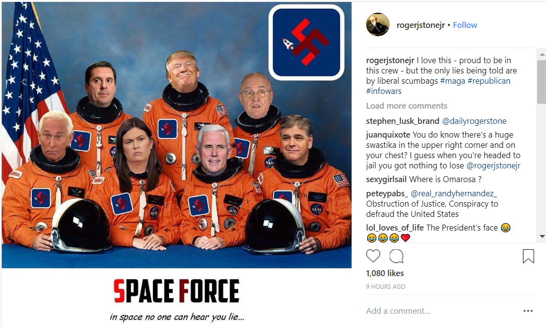 Roger Stone Shares Space Force Picture with Swastikas