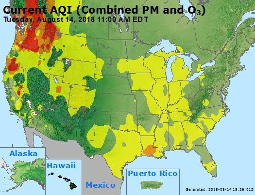 California Air Quality Map Fires Causing Unhealthy Conditions