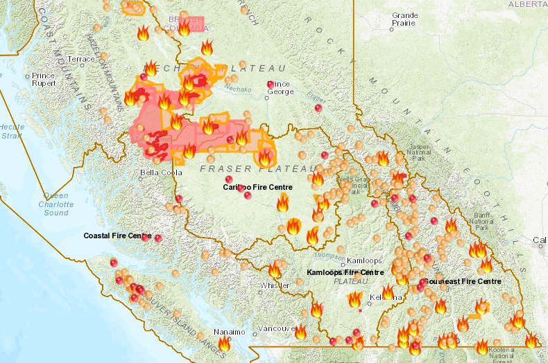 Canada Fires 2018: B.C. Wildfire Map Shows Where 566 Fires ... on map of western canada, map of southeast canada, capital of alberta, map of calgary alberta canada, map of alberta road map, columbia river alberta, map of alberta can, map of canadian east coast, us and canada map alberta, map of b.c. canada, map of saskatchewan and alberta, map of canada showing alberta, map of banff jasper area, map of southern alberta, map of canada with cities, map of bc, map of montana and alberta, table of formations alberta, map of canada and alberta, map of george vancouver exploration,