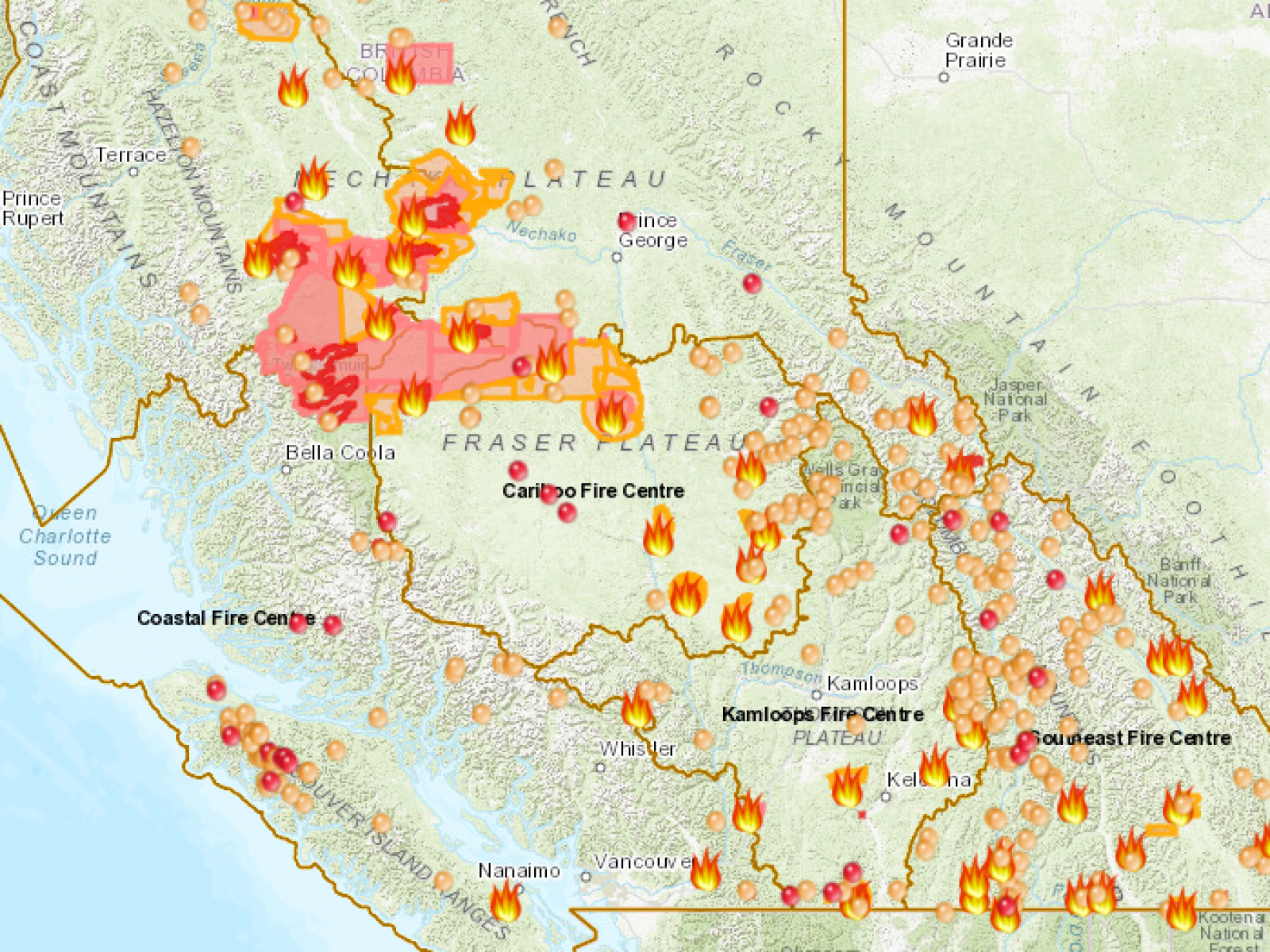 Canada Fires 2018: B.C. Wildfire Map Shows Where 566 Fires ... on canada map, pacific northwest map, british columbia government, victoria map, alberta map, alaska map, vancouver map, canadian provinces map, northwest territories map, nunavut map, victoria british columbia, vancouver on map, canadian territories map, oregon map, mexico map, usa map, glacier national park map, brazil map, united states map, british columbia hotels, new brunswick map, manitoba map, americas map, whistler map, quebec map, vancouver downtown map, banff map, vancouver island map, ontario map, british columbia attractions,