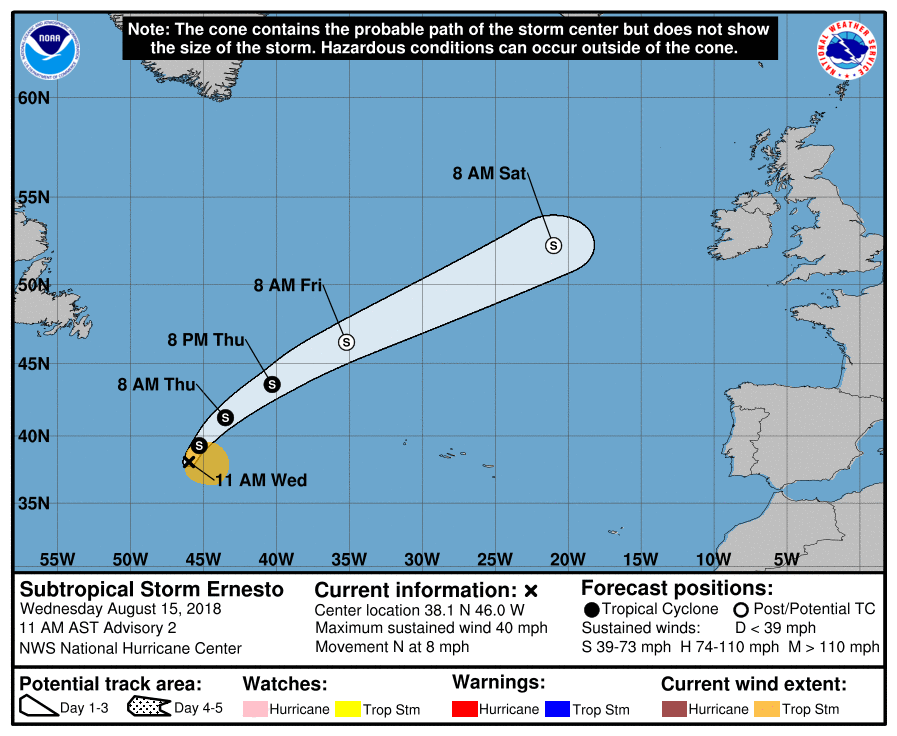 Subtropical Storm Ernesto
