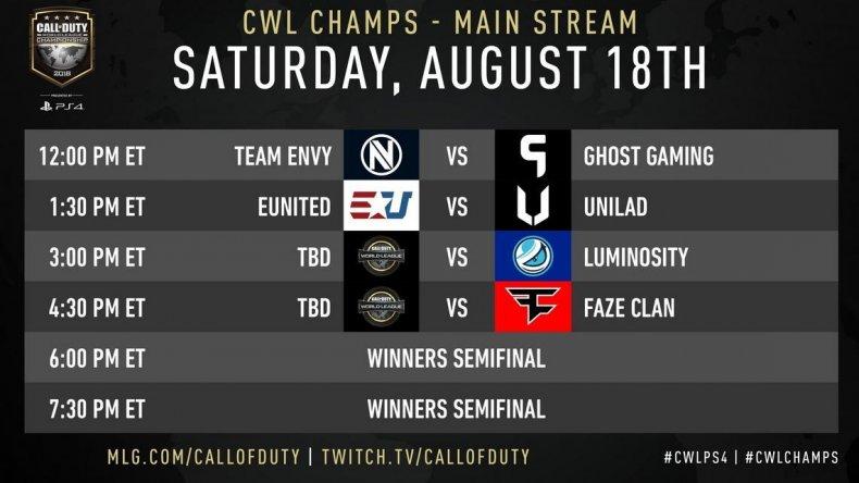 CWL Champs main schedule 8-18
