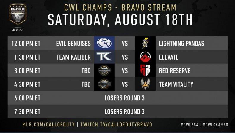 CWL Champs bravo schedule 8-18
