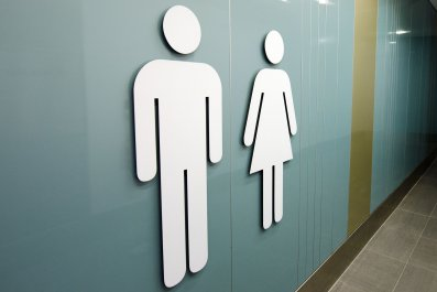 man-woman-bathroom-stock