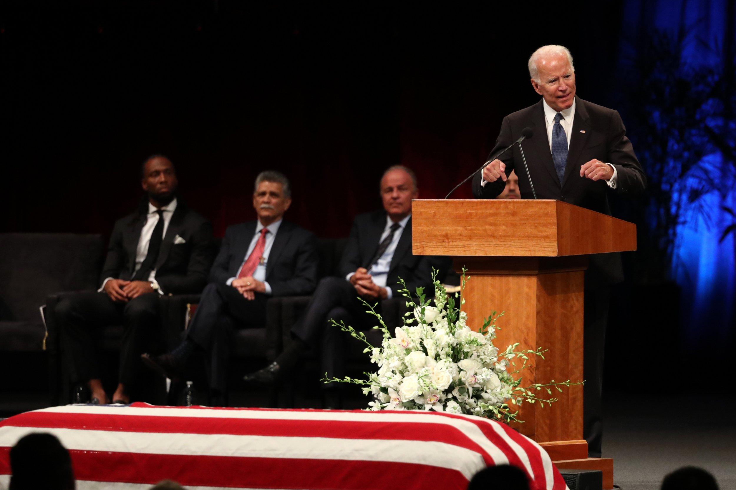 john mccain, joe bide, memorial, funeral service, quotes