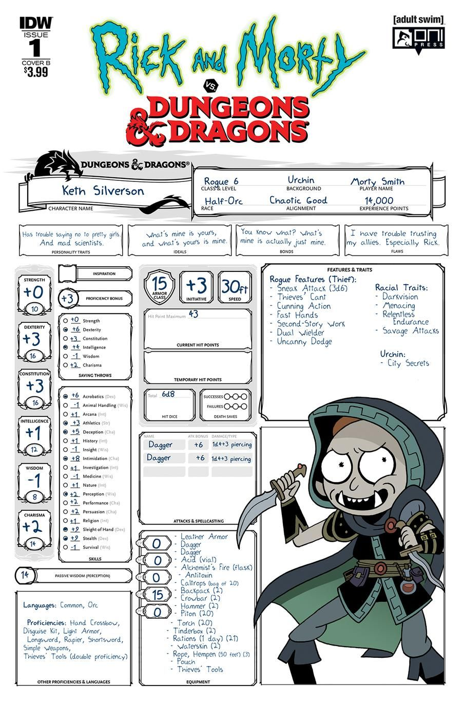 photograph relating to Printable Dungeons and Dragons Character Sheet named Morty of Rick and Morty Includes a Dungeons and Dragons