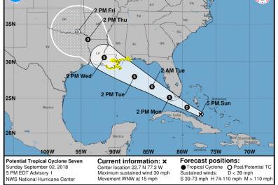 Tropical Storm Gordon Path