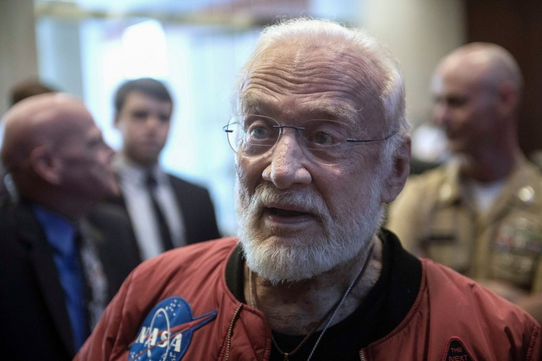 Buzz Aldrin American flag moon landing first man