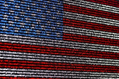 US flag and computer code
