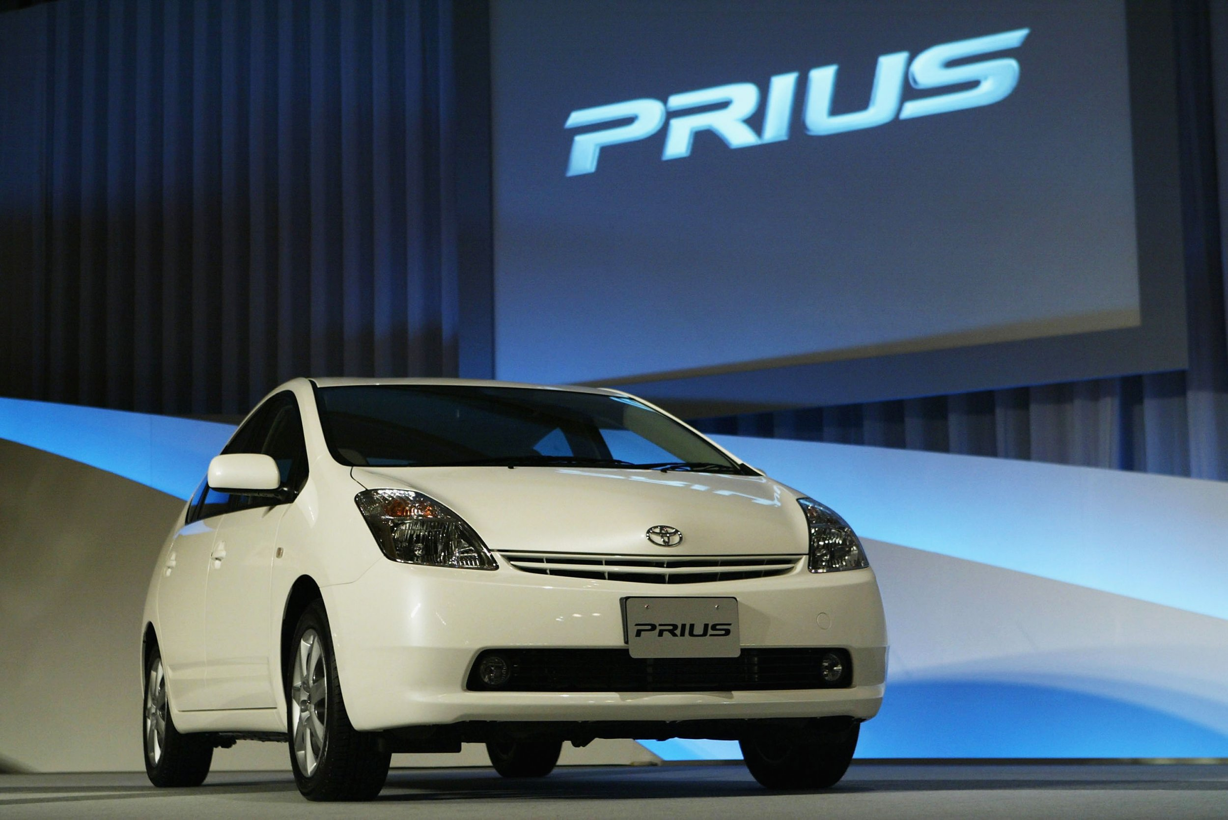 The Toyota Prius Hybrid Is Displayed During A Press Conference September 1 2003 In Tokyo An Announced Recall Of Some Models That Were