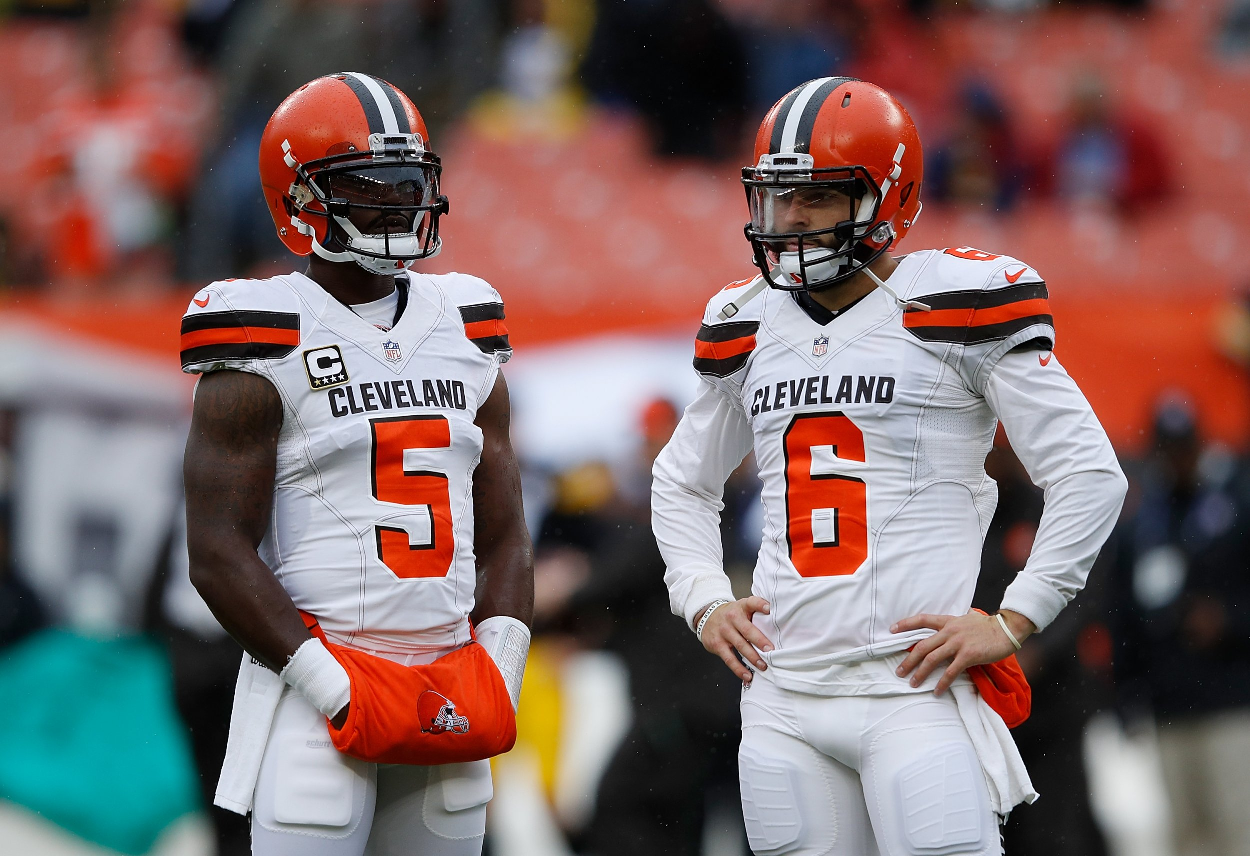8bfa37223aa Tyrod Taylor of the Cleveland Browns warms up alongside Baker Mayfield  prior to their game against the Pittsburgh Steelers at FirstEnergy Stadium  on ...
