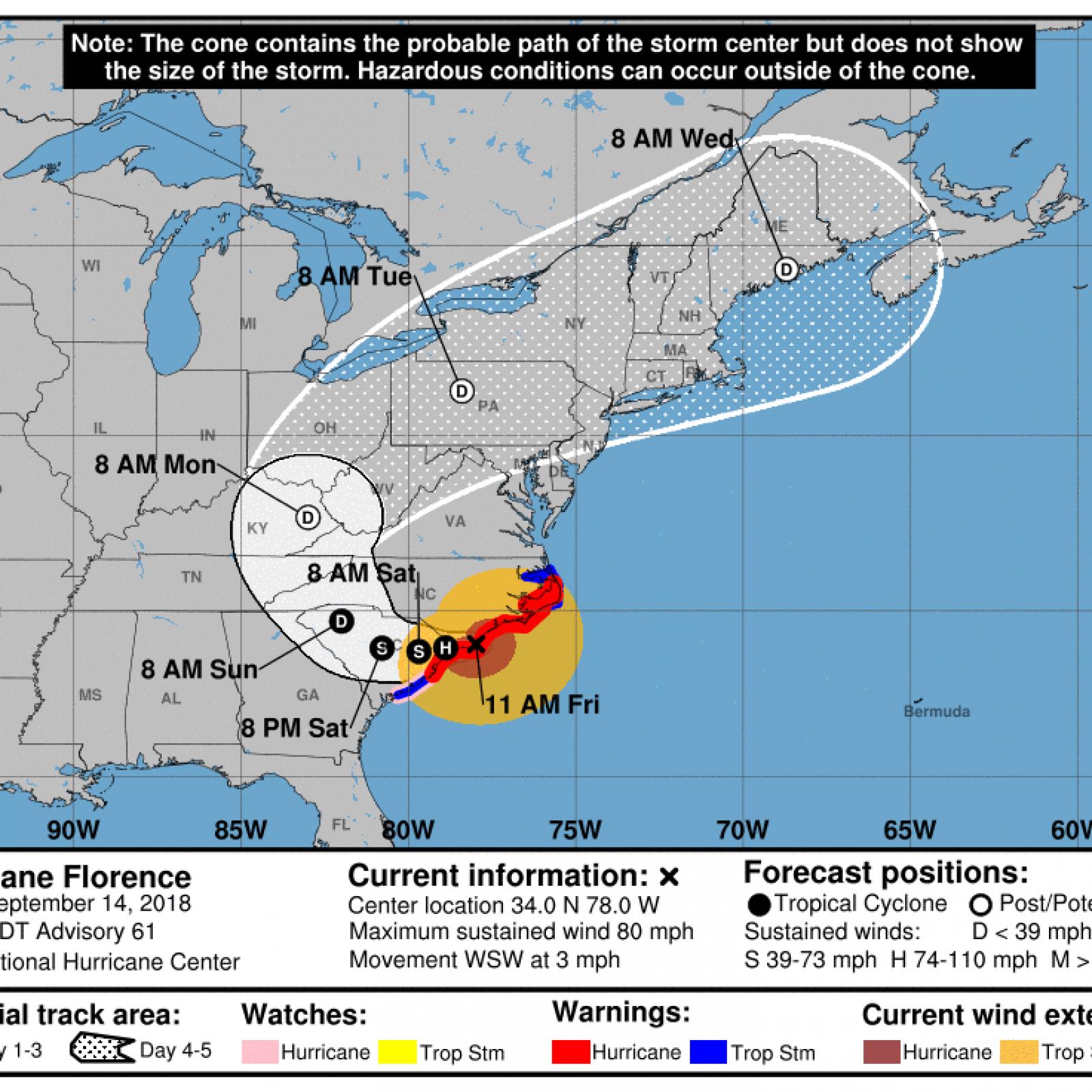 Will Hurricane Florence Hit Tennessee Kentucky West Virginia - Us-hurricane-landfall-map