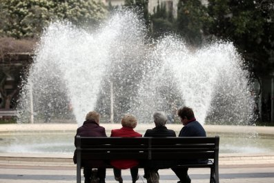 People on bench