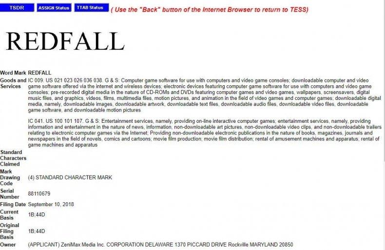 bethesda redfall trademark