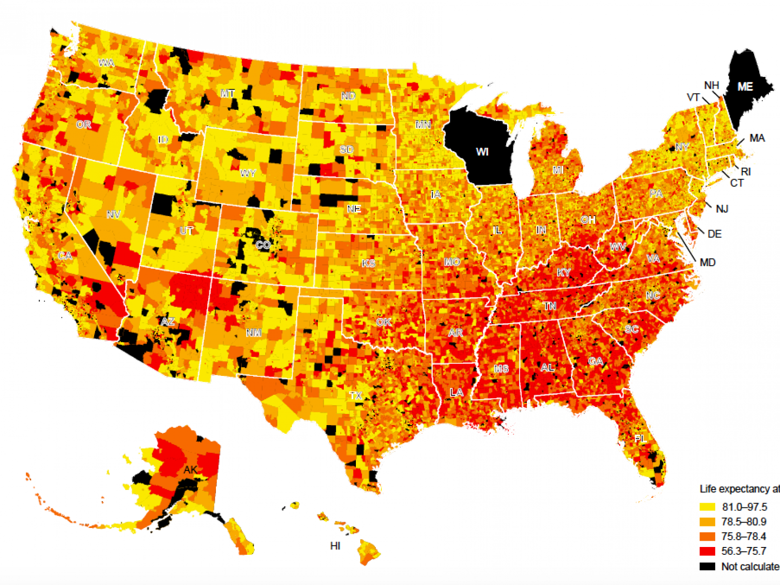 Us Life Expectancy Map These U.S. Cities, Neighborhoods Have Lowest Life Expectancy: How