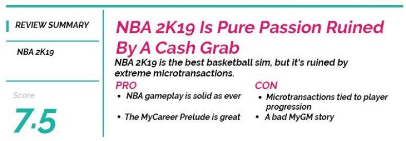 NBA 2K19 review box