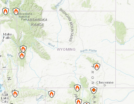Wyoming Fires Map Where Roosevelt Fire Ryan Fire And Others Are