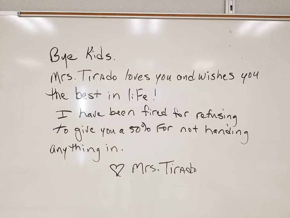 teacher fired no zero policy