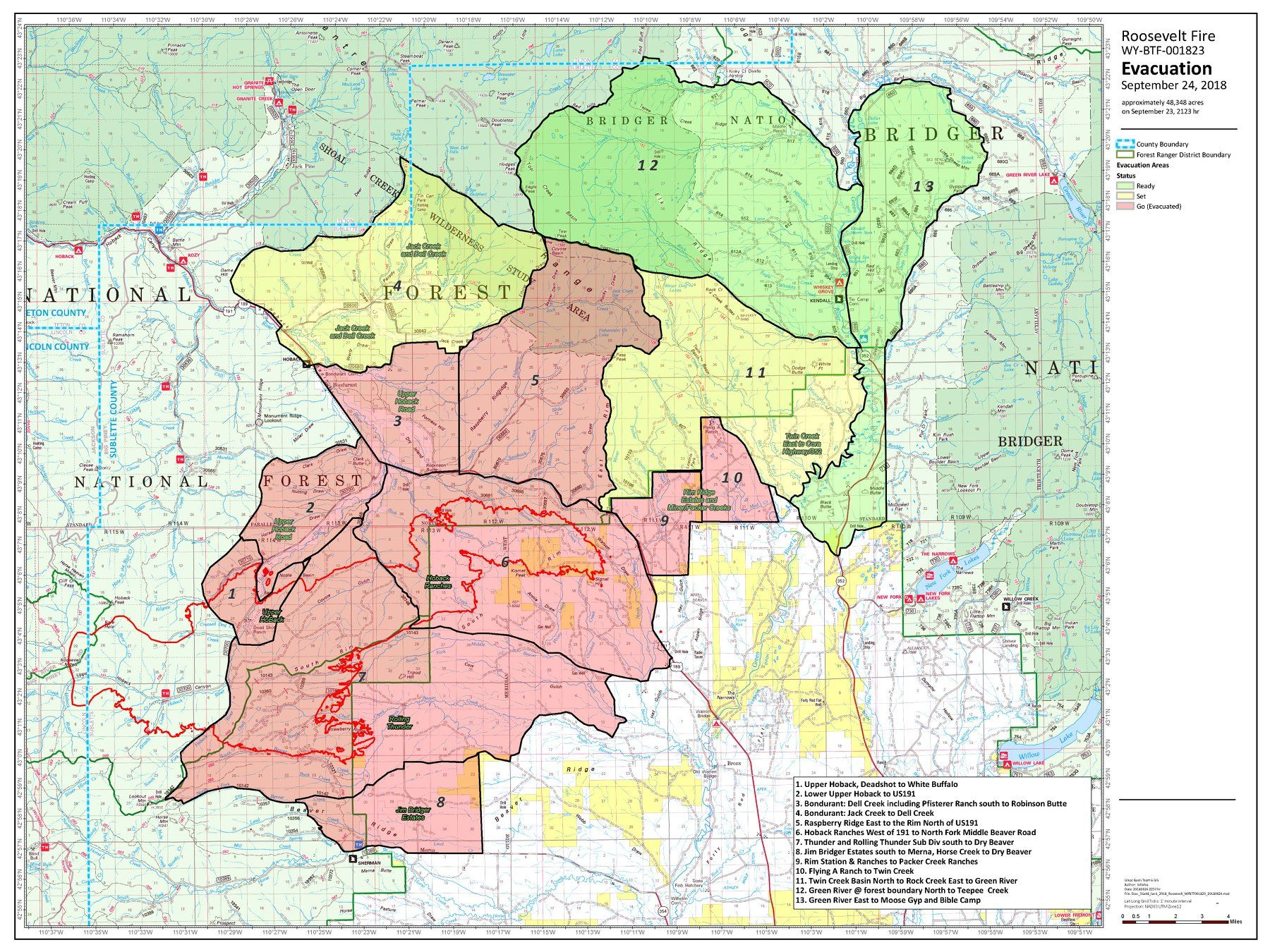 Bondurant Wyoming Map.Roosevelt Fire Map Update Wyoming Wildfire Burns 49 805 Acres