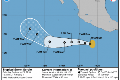 Tropical Storm Sergio Path