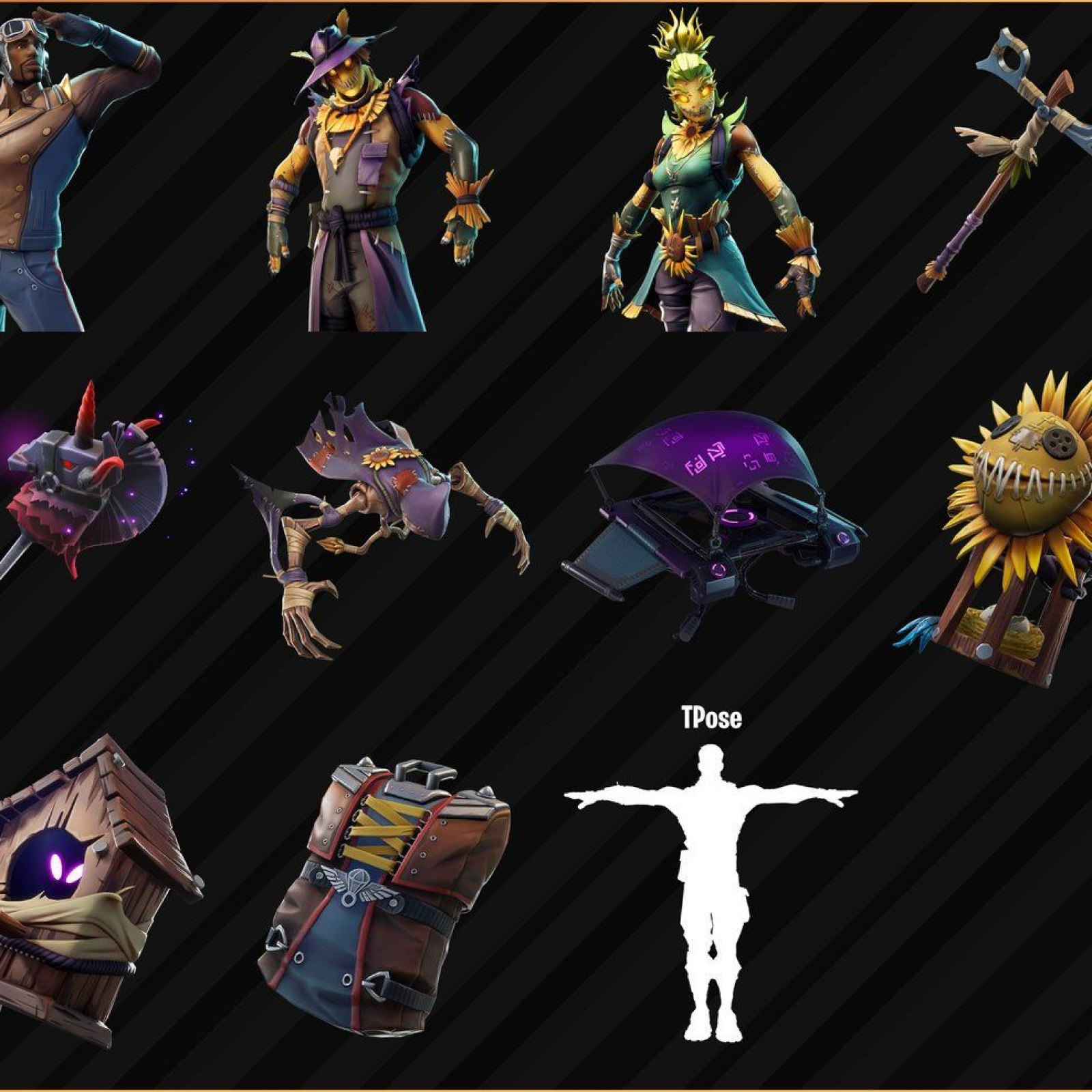 Fortnite V601 Leaked Skins Scarecrows Pilots And T Poses Oh My
