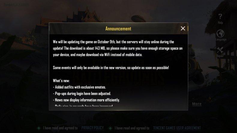 PUBG Mobile update notice