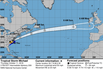 Where is hurricane michael located now