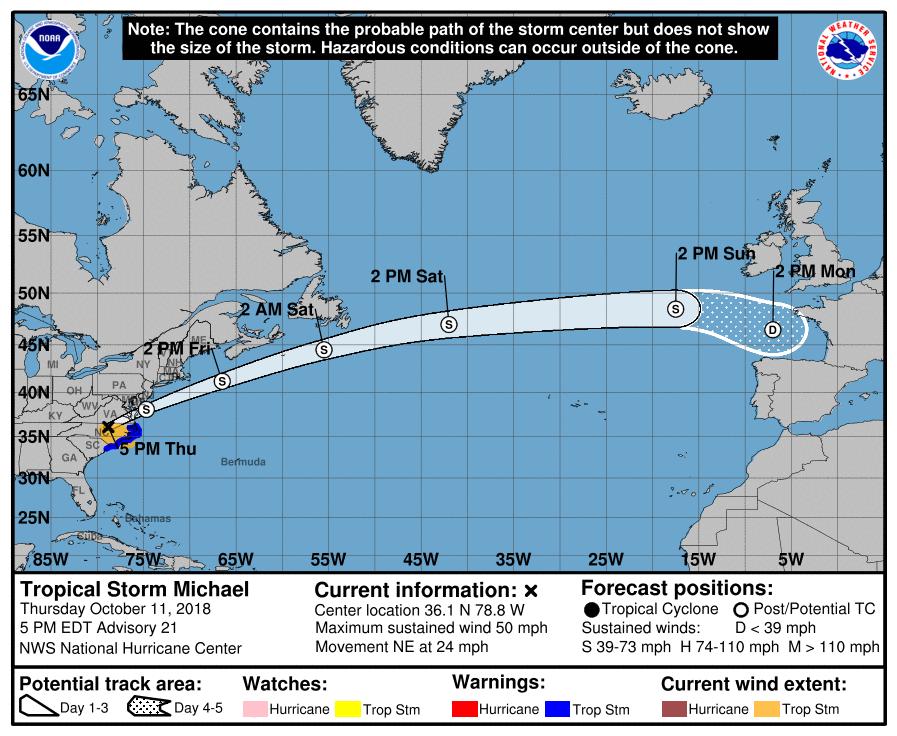 Tropical storm Michael Path