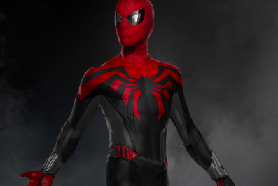 spider man black and red suit superior far from home