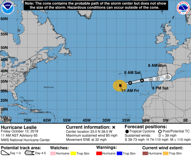 Hurricane Leslie Path Track Madeira