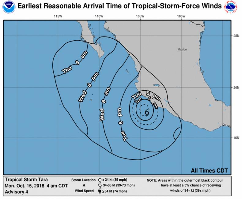 tropical storm tara winds mexico